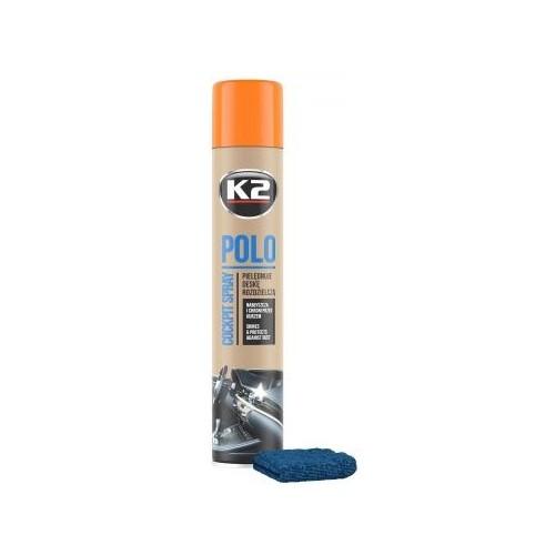 K2 POLO + MICROFIBRE spray 750 ML entretien du tableau de bord parfum pêche