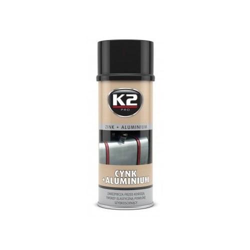 K2 Bombe peinture aluminium + zinc 400ml Protège contre la corrosion