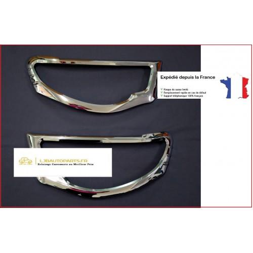 2 enjoliveurs de phares optiques avants Mitsubishi L200 de 2005 à 2010 Chrome